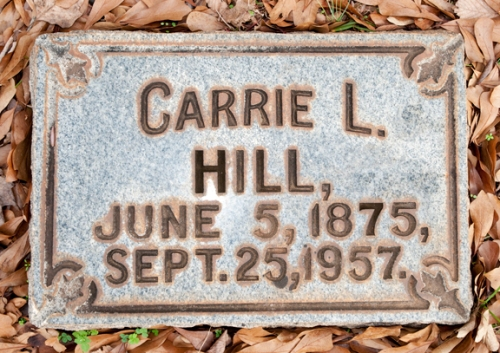 Graves stone of Artist Carrie L. Hill