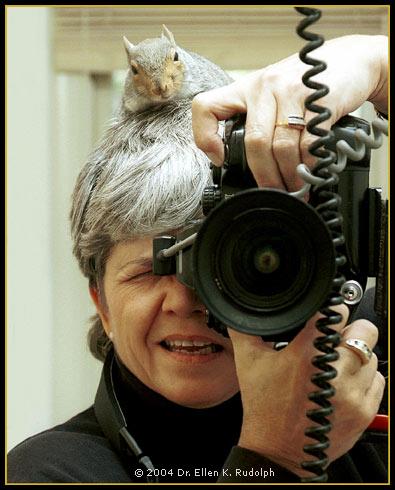Dr. Ellen K. Rudolph with Little Edgar the Squirrel